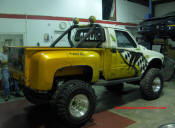"Old School custom built straight axle Toyota truck with a twin stick transfer case and 4"" lift"