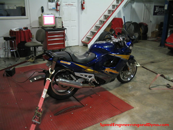 Motorcycle on Dyno at Speed Engineering
