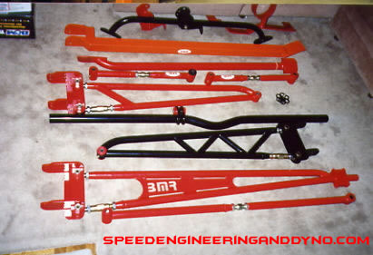 Toque arm, extreme sway bar, sub frame connectors, panhard bar, lower control arms, relocation brackets,